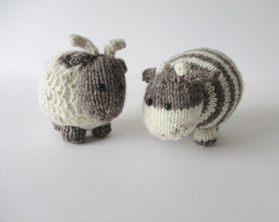 Knitting Pattern Cow Toy : Bramble Goat and Chestnut Cow toy knitting patterns