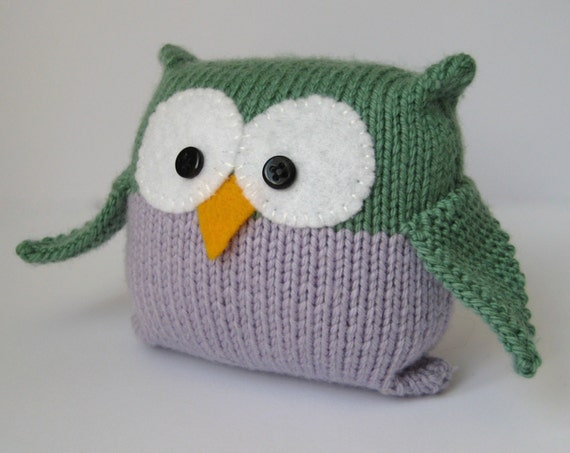 Knitting Patterns For Toys On Etsy : Tooley Owl toy knitting pattern by fluffandfuzz on Etsy