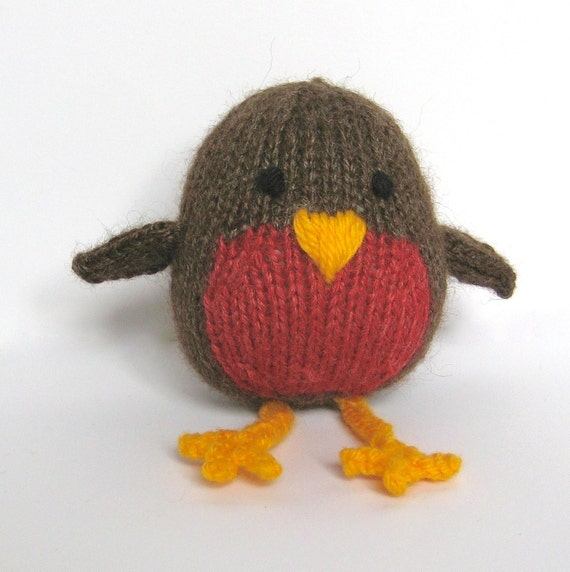 Knitting Patterns Christmas Toys : Jolly Robin Christmas toy knitting pattern by fluffandfuzz on Etsy