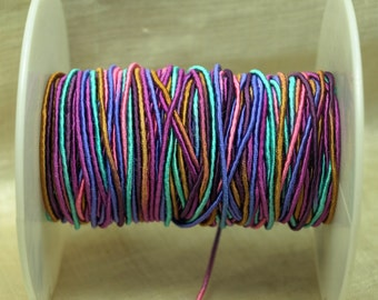 Bulk Cording! 10 Feet of Bright, Shiny Aqua, Purple, Pink and Tan Cording. CRD4013