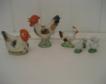 instant collection: two sets of small ceramic chicken figures made in Japan