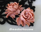34-00-BK 2pcs Hight Quality Cabbage Rose Cabochon - Dusty Pink