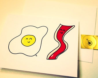 We are Sizzling, Bacon And Eggs Doodle Anniversary Card, made on recycled paper, comes with envelope and seal