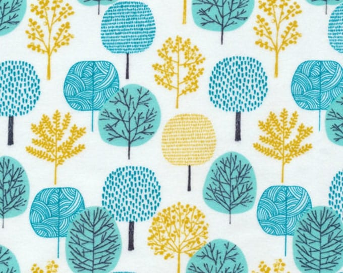 Organic FLANNEL Fabric - Cloud9 First Light - Turquoise Forest Flannel - Prewashed LAST ONE