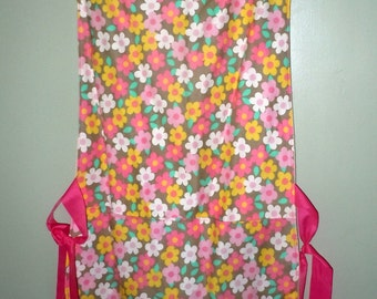 Floral retro print Apron with Ribbon Ties