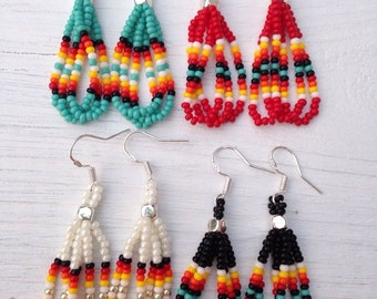 "4 Pair of Native American style Beaded Earrings 1.5"" long red,turquoise,black,white"