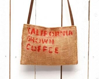 25% OFF Cross Body Bag Small Purse Long Strap Coffee Bag Purse Burlap Shoulder Bag Eco Friendly