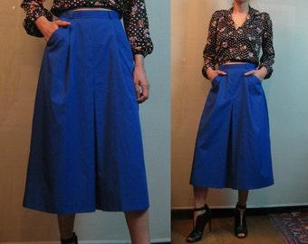70s COBALT COTTON vtg Pleated High Waist Pleat Pleats Blue Mid Skirt w/ Pockets xs Small 80s 1970s 1980s