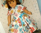 18 Inch Doll Floral Circular Skirt Sundress, Matching Capelet and Floppy Brimmed Hat by SEWSWEETDAISY