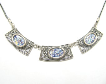 One Of A Kind 925 Silver Yemenite Filigree Roman Glass Necklace