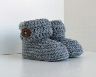 Merino Wool Button Cuff Hand Knit Baby Booties Gender Neutral Ugg Style Boys Girls White Taupe Gray Blue or Pink with Dark Wood Buttons