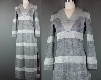 70s Dress Silver Metallic Maxi Party Vintage 70s Arbe Italy Italian Striped Hostess Long Gown S M