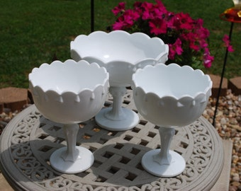Set of Three Vintage Teardrop Pedestal Style Milk Glass Compotes, Wedding Vases, Table Decor.