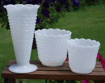 Three Fire King Hobnail Milk Glass Pieces in Different Sizes, Wedding Decor/Vases.