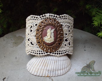 Victorian Fairy ~ Vintage Lace Fantasy adjustable cuff cameo bracelet with Vintaj brass, ivory lace