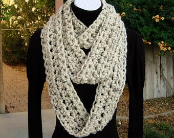 Extra Long INFINITY SCARF, Oatmeal Beige Light Brown Tweed, Color Options, Narrow Skinny Winter Loop Thick Soft..Ready to Ship in 2 Days