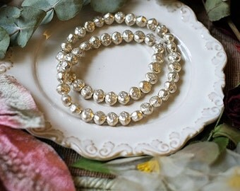 Thai silver manual concave-convex embossing flat bead