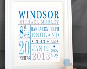 personalized baby gifts  Nursery print Custom Birth Print - Blue/brown subway art birth  for nursery birth stats print