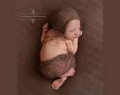 Toffee Brown Mohair Pants and Hat Set Newborn Photography