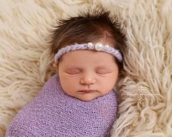 Lavender Triple Pearls Mohair Halo Tieback Headband Newborn Photography