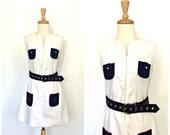 Mod 60s Dress - 60s dress - shift - nautical dress - color block - cotton - Neiman Marcus - Medium