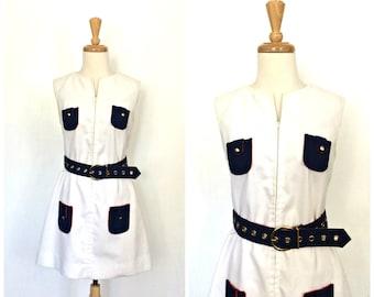 Vintage 60s Dress - mod shift - nautical dress - sundress - cotton - Neiman Marcus - Medium