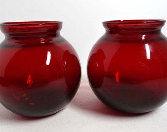 Set of Two Ruby Glass Bud Vases Flower Vases Home and Garden Home Decor Vases Glass Ruby Glass