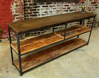 Reclaimed Wood and Concrete Bookcase Console