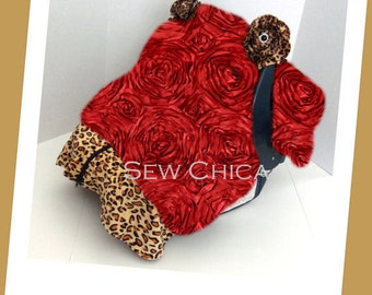 SALE-Infant / Baby Car Seat Canopy/ Zipper Tent / Cover/Red Roses/Leopard Minky/2 Bling Flowers-Ready To Ship