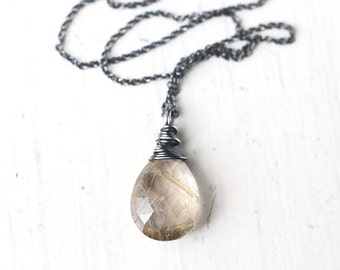 Golden Rutilated Quartz Oxidized Sterling Silver Necklace - Dusts of Gold, Gemstone Wire Wrapped