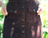 Babe Forever 80's/90's (xs) CHOCOLATE Brown Corduroy High Waisted Button Up Front Pockets Cute COUNTRY GIrl GRUNGE Mini Skirt