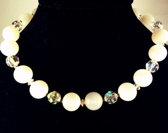 Moonglow & Aurora Borealis Necklace, Vintage Jewelry, White Necklace, Vintage Lucite Necklace, Vintage Choker, Mid Century Lucite Jewelry