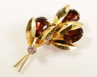Large Purple Art Deco Floral Brooch, Vintage Jewelry, Rhinestone Jewelry, Purple Rhinestone Brooch, Vintage Brooch, Gold Tone Big Flower Pin