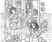 COLORING PAGE,Instant Print to Color for Adults,Teens,Children,Cute picture, detailed Pen Drawing ,Children Playing,Moms and Kids,DIY