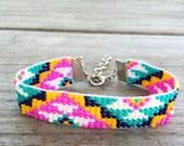Colorful Tribal Triangle Handmade Beaded Bracelet