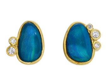 Opal Diamond Earrings, Australian Opal Studs, Blue Opals, Opal Diamond Studs, Blue Opal Gold Diamond Earrings, 18k, October Birthstone,NIXIN