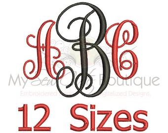 Embroidery Fonts BX - Monogram Digital Designs Machine BX PES Format Patterns 12 Sizes - Instant Download