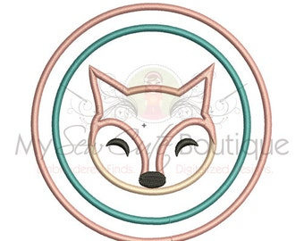 Fox Applique Design - Instant Download - 12 Sizes - Machine Embroidery