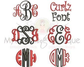 Embroidery Font - Monogram Font - Monogram Embroidery Font - 3 Sizes - Instant Download