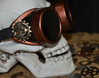 Copper and Black Wooden Gear Bronze Female Profile Goggles