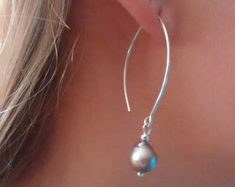 Teardrop Shaped Baroque Pearls on Silver Marquise Earwires