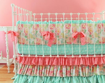 READY TO SHIP 30% Off Sale Mint Baby Bedding Mosaic Rose Crib Bedding Set