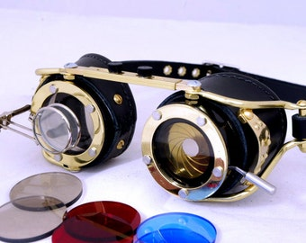 Steampunk goggle with IRIS APERTURE and magnifier Brass LARP All Black