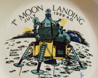 Vintage Apollo 11 Commemorative Plate Cup and Coaster Set // 504