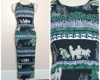 90s Animal Gauze Maxi Dress Tigers Zebra Giraffe African Safari Small Medium