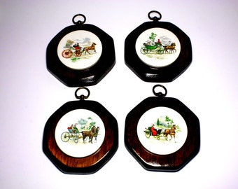 Vintage Horse and Carriage Wall Plaques - circa 1970's