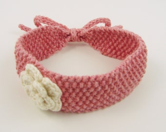 Pink Knit Headband with White Crochet Flower- size newborn and up