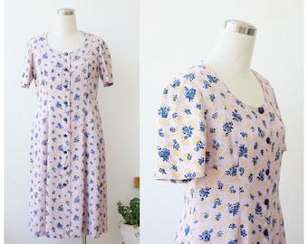 Mid Century Dress 1940s 1950s Dress Medium Blush Pink Dress Long Dress Button Front Dress M L Floral Dress Short Sleeve Flared Dress
