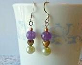 Amethyst Purple Earrings Silver Faux Pearl Summer Wedding Jewelry Gold Heart