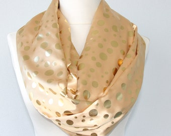 Gold polka dot scarf infinity scarf night out scarf  gold scarf womens fashion accessories sateen scarf summer scarves gift for her